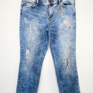 Dittos Straight Mid Rise Acid Wash Distressed Jean